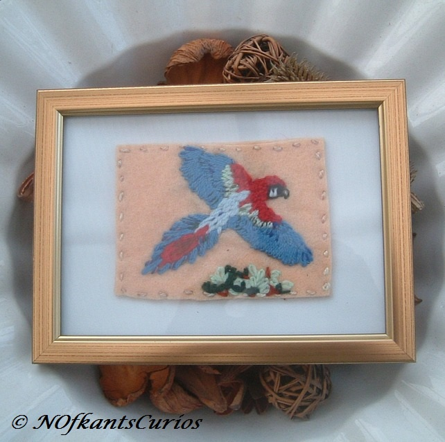 Canopy Flight Embroidered Yarn and Felt Framed Picture.
