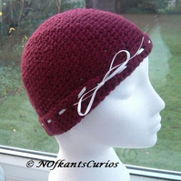 Burgundy Cream!  Crocheted Beanie Hat with interlaced ribbon detail!