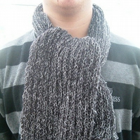Slate Toned, Wide Rib Knitted Scarf for Lady or Gent!