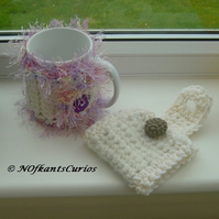 His and Hers Yarn Mug Cosies, Cream & Grey and Cream & Lilac