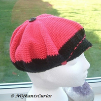 Pink & Black Baker Style Hat for the Little Lady. 6 to 10 years approx!