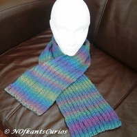 Autumn Rainbow Hues, Rainbow Knitted Wide Ribbed Scarf.