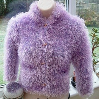 Dreamy Lilac Princess, Girls Luxurious Hand Knitted Fluffy Jacket.