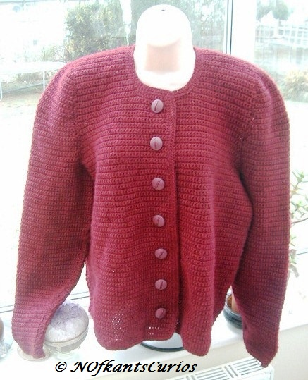 Classic Burgundy Hand Crocheted Ladies Jacket.  UK size Approx 16 to 18