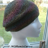 Autumnal Rainbow Hues, Crocheted Soft Beret, or Slouchy Hat.