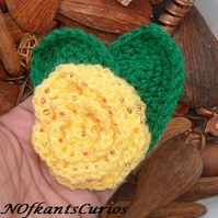 Texas Rose!  Yellow Beaded Crocheted Rose Corsage.