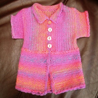 Newborn Pink Rainbow!  Crocheted Spring Summer Jacket.