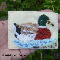 Mallard Embroidered Yarn and Felt Mixed Media ACEO.