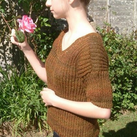 Harvest Rainbow!  Hand Knitted, Rounded V Neck Jumper, with Beaded Detail.