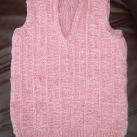 Pink Marl Child's V Neck Sleeveless Sweater or Tank Top. Age 2 to 4yrs approx.