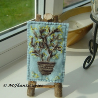 Spring Catkins Embroidered ACEO Yarn on Felt.