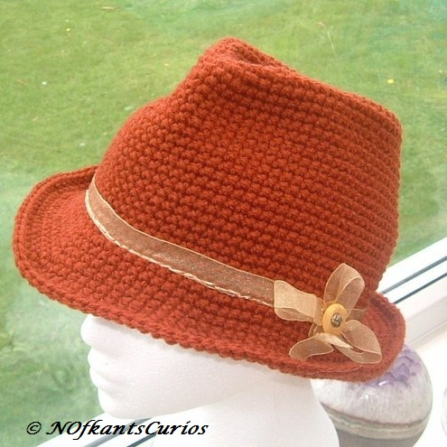 Crocheted Trilby Style Hat with Ribbon and Vintage button Detail