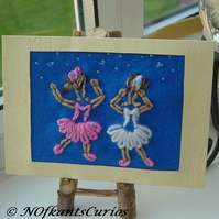 Starry Night Show Dancing Felt, Beaded & Embroidered Picture.