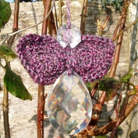 Purple Fairy Angel!  Cut Glass Chandelier and Crochet Hanging Window Decoration.