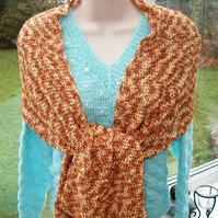 Sumptuous Gold and Bronze Crocheted Shoulder Wrap!