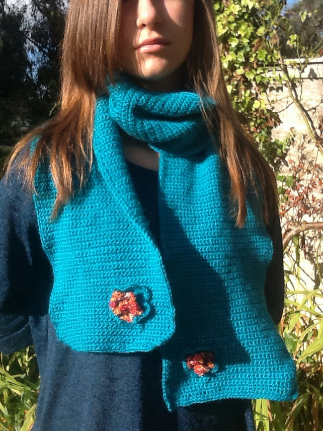 Autumn Emerald Crocheted Scarf with floral accents!