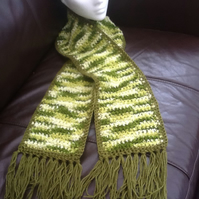 Green Marble!  Crocheted Scarf with Fringe Trim!
