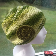 Green Marble!  Crocheted Slouchy style Hat with floral rosette decoration!