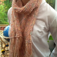 Mirage Silky Pink & Mottled Toned Wide Rib Scarf, with Tassel Fringe!