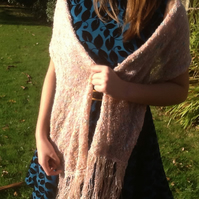 Mirage!  Wide knitted And Crocheted Shoulder Wrap with Tassel Fringe Detail!