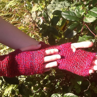Cranberry Rainbow!  Crocheted Fingerless Mittens!