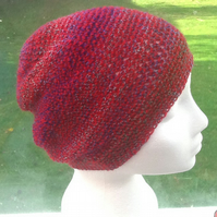 Cranberry Rainbow!  Crocheted Slouchy, or soft Beret hat!