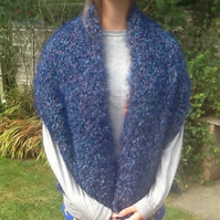 Peacock Festival!  Hand Knited and Chiffon Lined Stole or Shoulder Wrap!