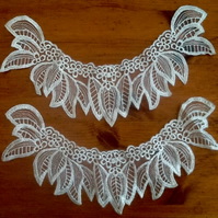 Pair of Curved Lace Trims, with Leaf Design for Crafting or Clothing Project!