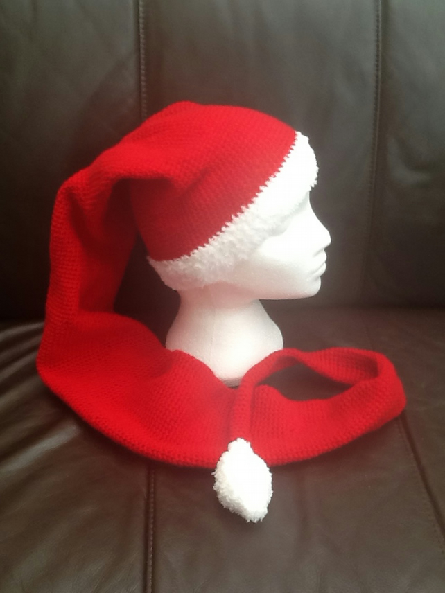 Long Santa Crocheted Hat Scarf!  Crocheted to your specification!