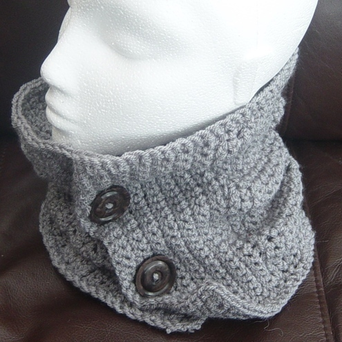 Slate Grey Denys Brunton Designer Yarn, Crocheted Neck Cosy, Scarflet or Cowl.