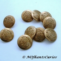 10 Vintage Military Style Metal Buttons!