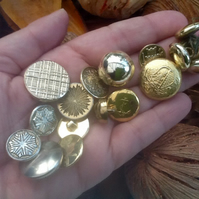 Selection of mixed vintage yellow metal buttons for crafting projects!