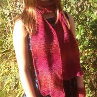 Cranberry Rainbow Crocheted Scarf, in Designer Denys Brunton Yarn!