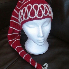 Spiral Swirl Elf Hat! Crocheted Fantasy Long Hat Scarf.  Approx 6 to 10 years!