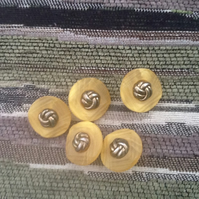 Set of 5 Lucite and Metal knot Shield style Vitnage Buttons!