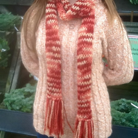 Russet Marble Super Long Knitted Scarf with Fringe.