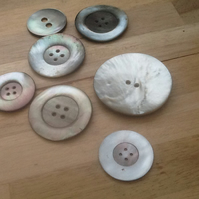 Collection of 7 Large vintage Mother of Pearl Buttons!