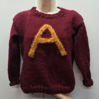 Knittiarmous!  Child's or adults  initial knitted initial Jumper to your design!