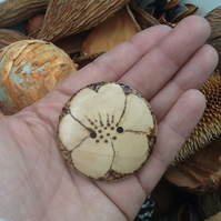A single Large Floral Wooden Button!  Hand turned individual Button!