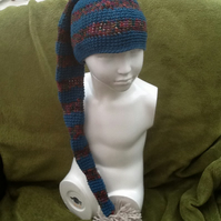 Elf Green Stripe Long Crocheted Hat with Pom Pom! For 2 for 5 years of Age.