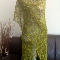 Woodland Elf.  Hand Knitted Lacy Shawl or Wrap.