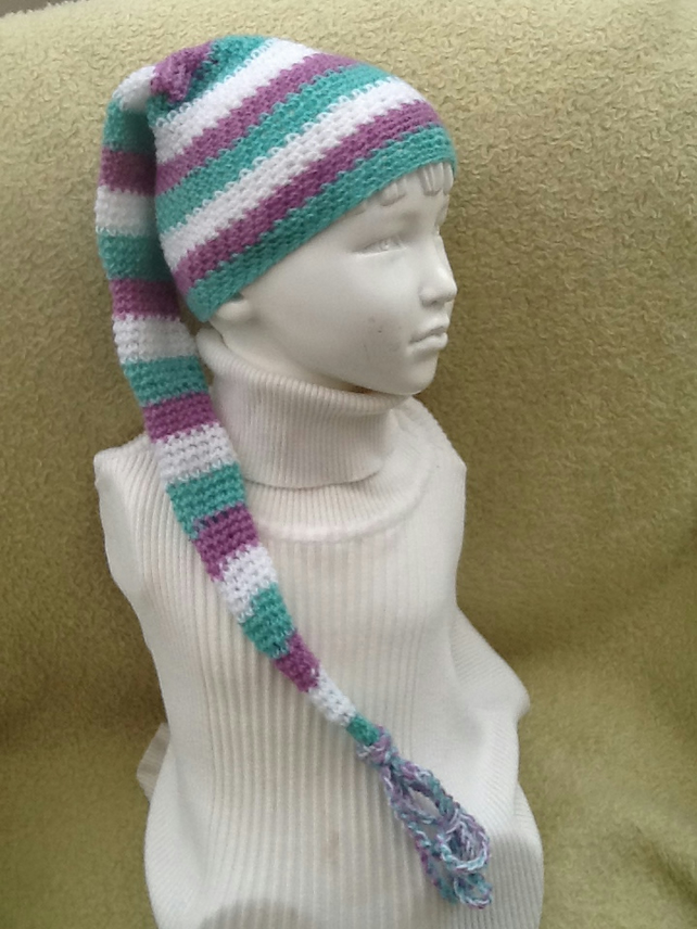 Neapolitan Stripe!  Crocheted Elf Style Tassled Hat, approx age  6 to 18 months.