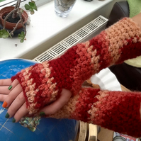 Russet Chunky Long Length Gauntlet Style Crocheted Fingerless Mittens