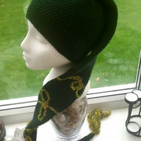 Deep Green Elf Style Crocheted Hat Scarf with Spiral Design and Tassel