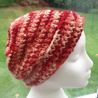 Russet Marble Beanie or Slouchy Crocheted Hat.