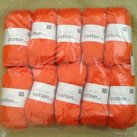 10 X 50g of Rico Design 100% Cotton Aran yarn - Orange!