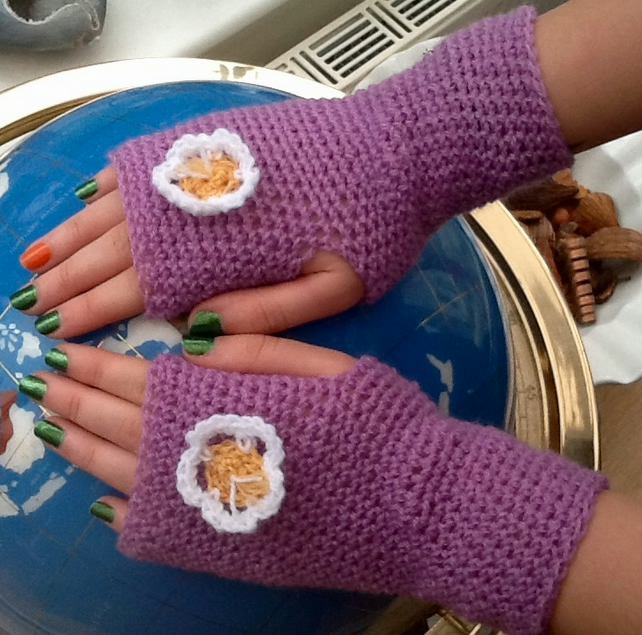 Lilac Daisy Crocheted Fingerless Mittens with floral accent, Denys Brunton!