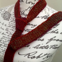Cranberry Rainbow Denys Brunton Designer Yarn Crocheted Neck Tie.