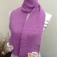 Lilac Daisy Crocheted Scarf with Floral Accents in Denys Brunton Designer Yarn