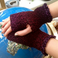 Winter Berry Crocheted Fingerless Mittens in Denys Brunton Designer Yarn.